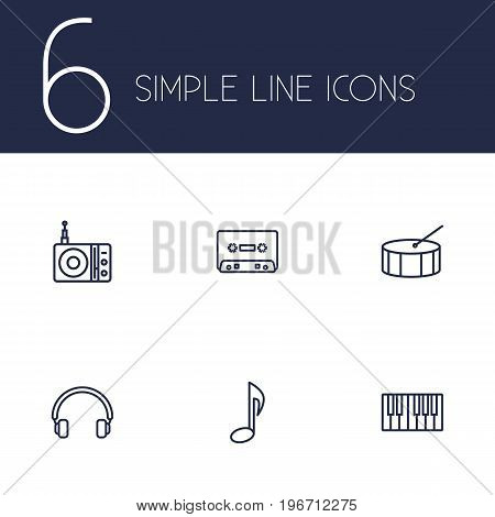 Collection Of Station, Percussion, Musical Sign And Other Elements.  Set Of 6 Music Outline Icons Set.