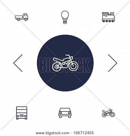 Collection Of Motorcycle, Front View, Lorry And Other Elements.  Set Of 6 Traffic Outline Icons Set.