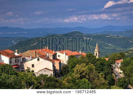 View of the belltower of the Church of St.John the Baptist and Blessed Virgin Mary of the Gate Motovun
