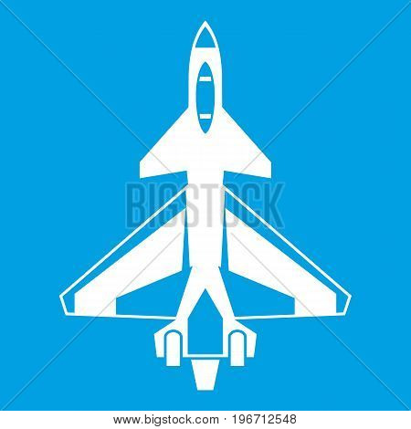 Military fighter jet icon white isolated on blue background vector illustration