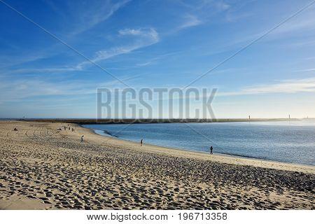 Praia da Barra Portugal - June 9 2017: Old beach in Praia da Barra city resort at sunset a famous beach near Aveiro Portugal