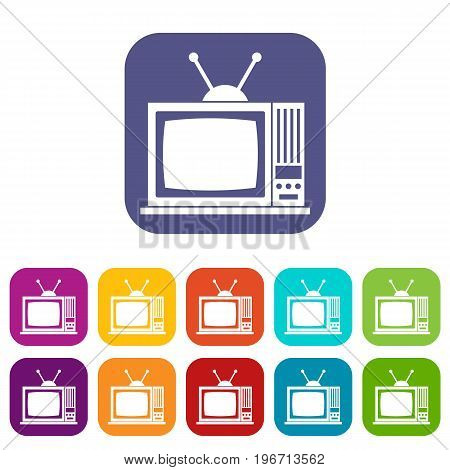 Retro TV icons set vector illustration in flat style in colors red, blue, green, and other