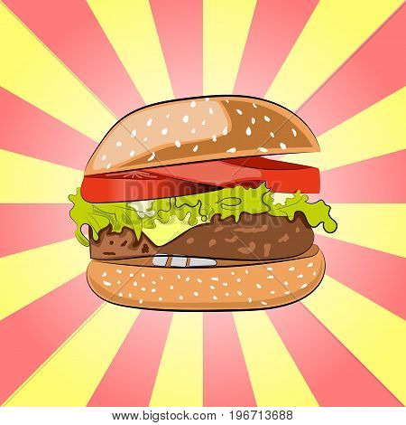 Hamburger or Burger with salad, cheese, beef meat cutlet and tomatoes. Colorful drawing of Cheeseburger. Cartoon-styled Fast Food -tasty burger.