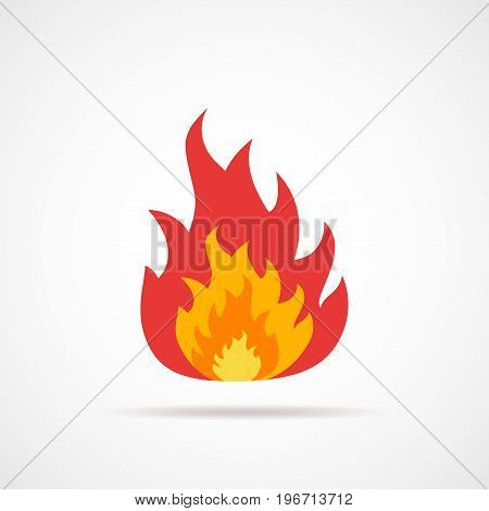 Fire icon isolated. Vector illustration. Fire sign in flat design.