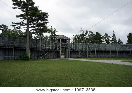 The North Gate of Fort Michilimackinac, in the Colonial Michilimackinac State Park in Mackinaw City, Michigan.