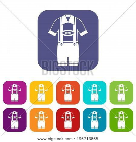 T-shirt and pants with suspenders icons set vector illustration in flat style in colors red, blue, green, and other