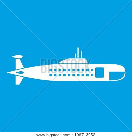 Military submarine icon white isolated on blue background vector illustration