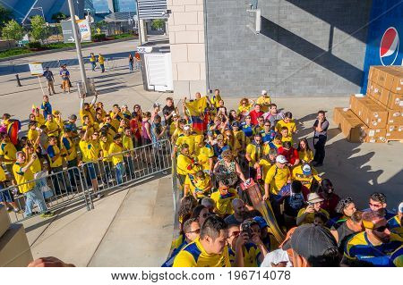 NEW YORK, USA - NOVEMBER 22, 2016: Unidentified ecuadorian fans in the line to enter to Metlife Stadium to see the football game in New York Usa.