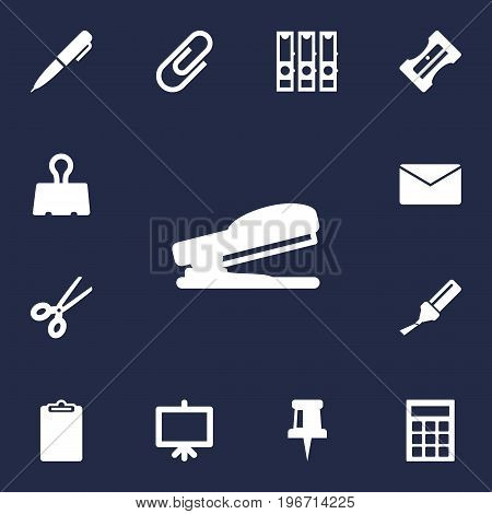 Collection Of Clip, Clippers, Mail And Other Elements.  Set Of 13 Instruments Icons Set.
