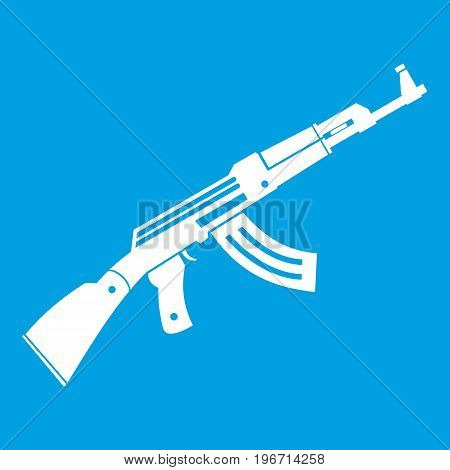 Submachine gun icon white isolated on blue background vector illustration