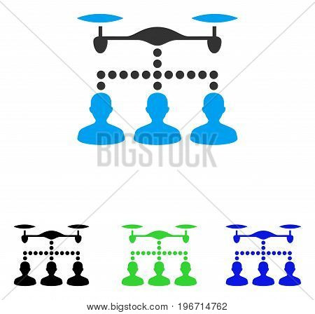 Drone Clients Connection vector pictograph. Illustration style is a flat iconic colored symbol with different color versions.