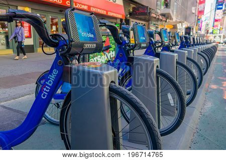 NEW YORK, USA - NOVEMBER 22, 2016: Bike rental on Times Square parked in a row in the street in New York city USA.