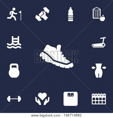 Collection Of Date, Drink, Bodybuilding And Other Elements.  Set Of 13 Fitness Icons Set.