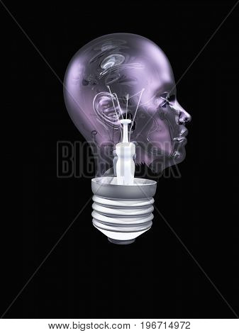 Light bulb in form of human head  3D rendering
