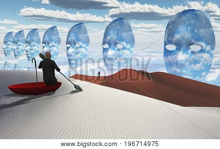 Surreal painting. Man in red umbrella floating on white desert. Figure of man in a distance. Masks floats in the sky.  3D rendering