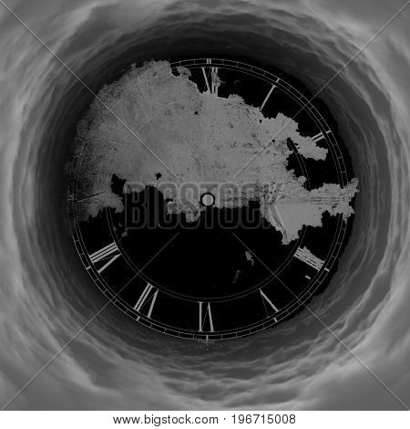 Surrealism. Clock face in tunnel of clouds.  3D rendering