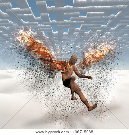 Surrealism. Naked man with burning wings falls down from cloudy sky. Maze of clouds.   3D rendering