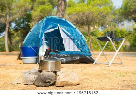 Blue dome tent for adventure camping