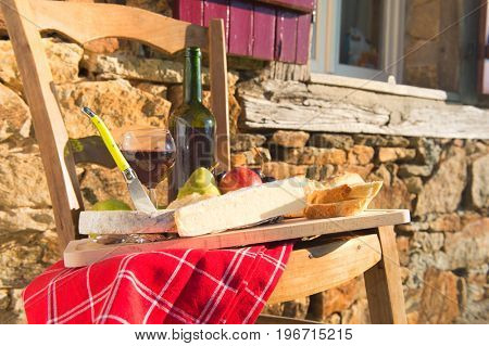 French wine and cheese outdoor in sunshine