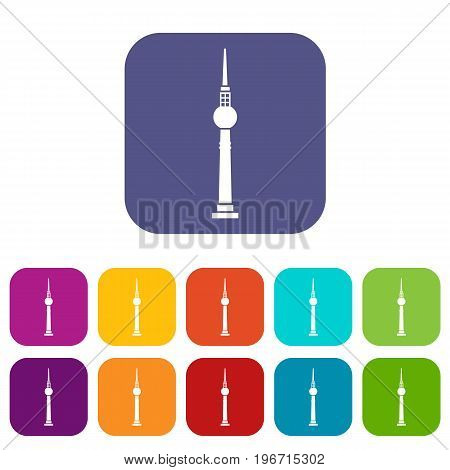 Tower icons set vector illustration in flat style in colors red, blue, green, and other