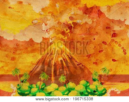 Cartoon Volcano Eruption Grunge