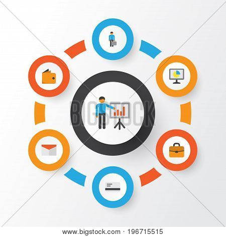 Business Flat Icons Set. Collection Of Work Man, Envelope, Statistics And Other Elements