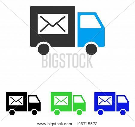 Mail Delivery Van vector pictograph. Illustration style is a flat iconic colored symbol with different color versions.