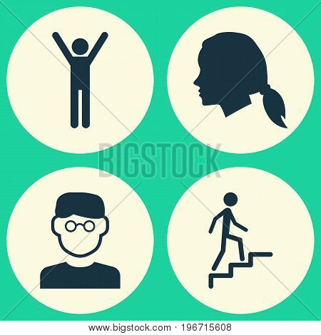 Person Icons Set. Collection Of Scientist, Happy, Ladder And Other Elements