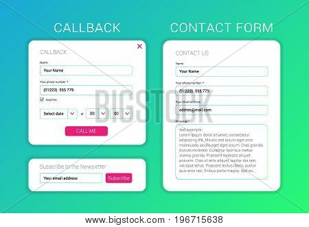 UI elements web subscribe form, contact form, callback form flat design.