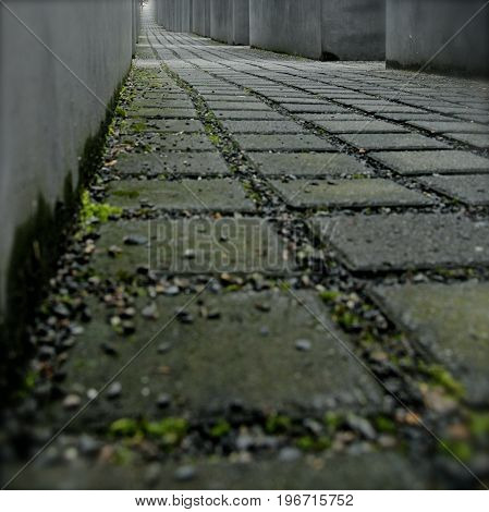 Close up of a path at the Memorial to the Murdered Jews of Europe. Berlin, Germany