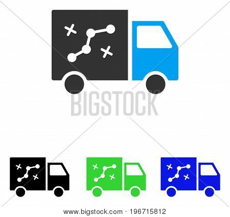 Route Van vector pictogram. Illustration style is a flat iconic colored symbol with different color versions.