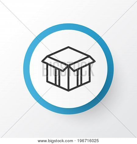Premium Quality Isolated Open Cardboard Element In Trendy Style.  Open Box Icon Symbol.