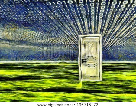 Surreal painting. White door stands on a green surface. Binary code in the sky.  3D rendering