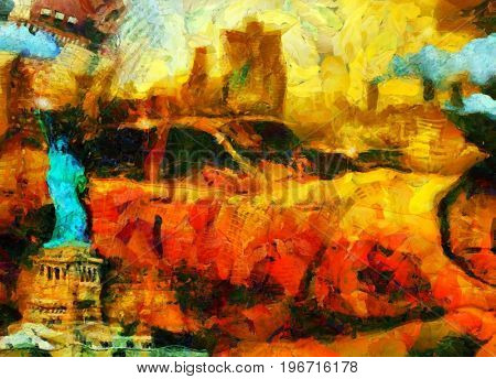 Surreal painting. New York taxi. Liberty statue.  3D rendering
