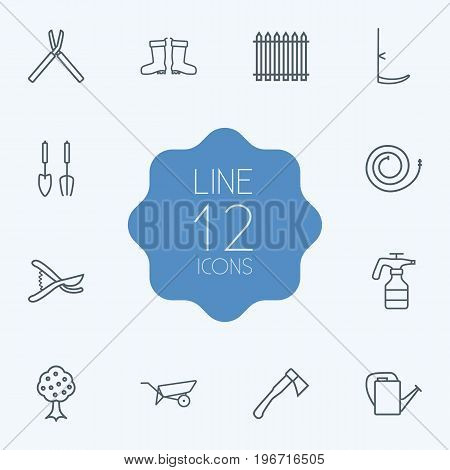 Collection Of Firehose, Shears, Secateurs And Other Elements.  Set Of 12 Household Outline Icons Set.
