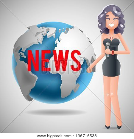 News Journalist Reporting Reporter Female Character Girl Mass Media Symbol on World Background Design Template Vector Illustration