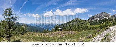 Nassfeld in Carnic Alps with mountain Gartnerkofel and High Tauern with Grossglockner in the background