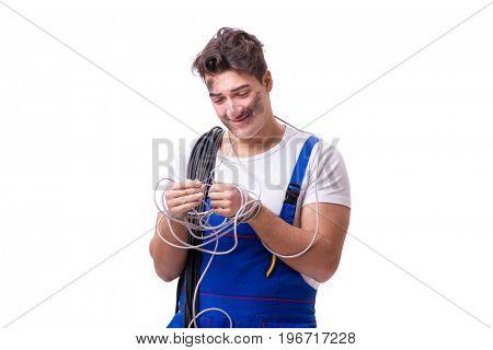 Funny man doing electrical repair