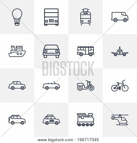 Collection Of Airplane, Van, Cabriolet And Other Elements.  Set Of 16 Shipping Outline Icons Set.