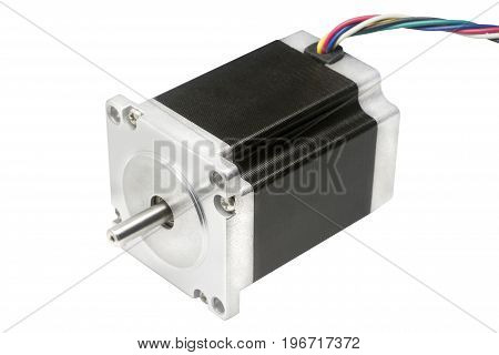 CNC drive stepping stepper motor with NEMA standard flange used for driving axes of CNC machines like 3D printers and routers on white background with clipping path