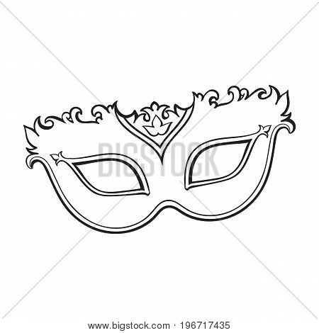 Beautifully decorated Venetian carnival mask with glitter and ornaments, sketch style vector illustration isolated on white background. Realistic hand drawing of carnival, Venetian mask
