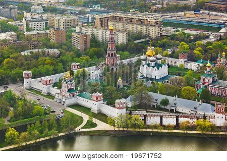 Novodevichiy convent in Moscow, Russia - aerial view poster
