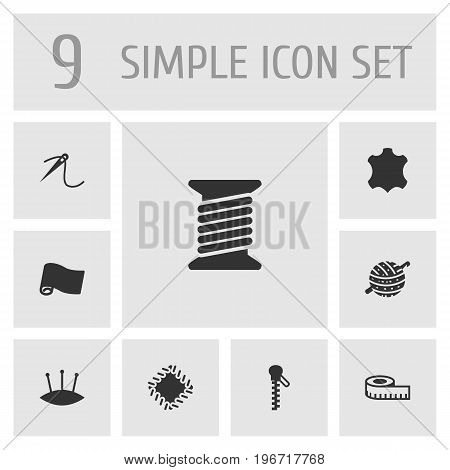 Collection Of Roll, Knitting, Meter And Other Elements.  Set Of 9 Tailor Icons Set.