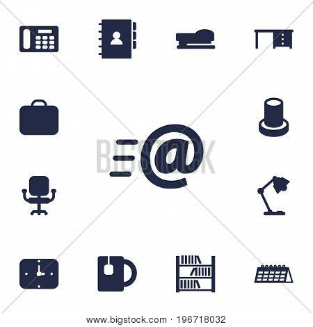 Collection Of Message, Cup, Time And Other Elements.  Set Of 13 Workspace Icons Set.