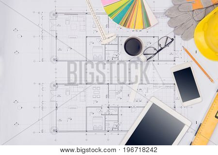 Workplace of architect. Architectural plan technical project drawing