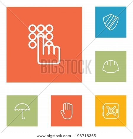 Collection Of Helmet, Hand , Parasol Elements.  Set Of 6 Safety Outline Icons Set.