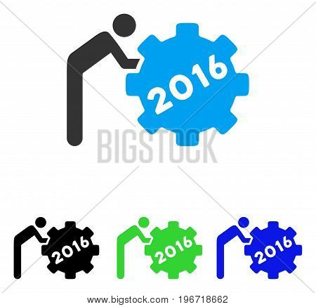2016 Working Man vector pictograph. Illustration style is a flat iconic colored symbol with different color versions.