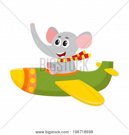 Cute funny elephant pilot character flying on airplane, cartoon vector illustration isolated on white background. Little baby elephant pilot, animal character flying in open airplane