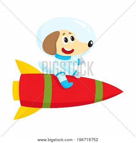 Cute little dog, puppy astronaut, spaceman character riding a rocket, cartoon vector illustration isolated on white background. Baby dog, puppy astronaut, spaceman in spacesuit riding rocket in space