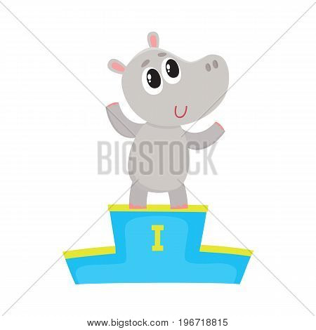 Cute little hippo character, champion standing on top of the winner pedestal, cartoon vector illustration isolated on white background. Baby hippo champion waving from winner pedestal
